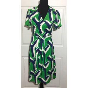 DVF Jilda Abstract Silk Jersey Midi Wrap Dress